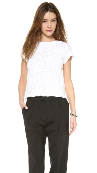 Alice + Olivia Edi Lace Raglan Sleeve Top - White at Shopbop / East Dane