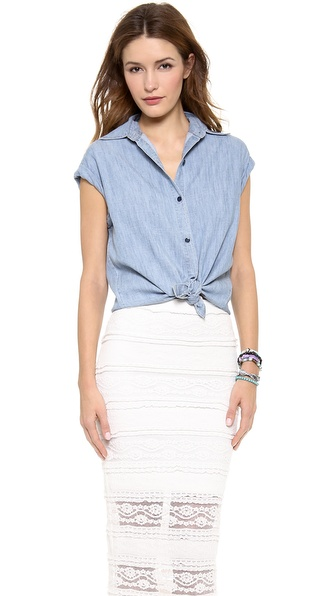 alice + olivia Oren Cuffed Sleeve Button Down