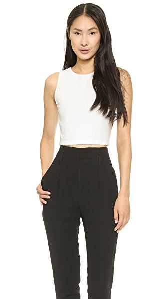 alice + olivia Pire Sleeveless Fitted Crop Top