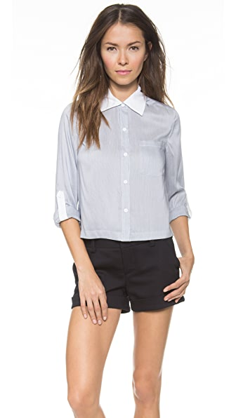 alice + olivia Amy Cropped Buttondown
