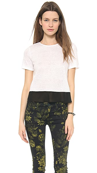 alice + olivia Greco Drape Hem Combo Shirt