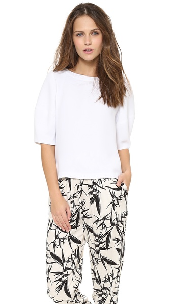 alice + olivia Selena Structured Boxy Back Zip Top