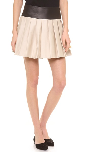 Alice + Olivia Box Pleat Skirt - Stone at Shopbop / East Dane