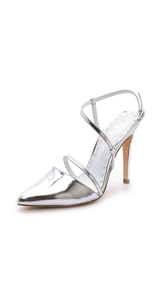 Alice + Olivia Davey Ankle Strap Pumps - Silver at Shopbop / East Dane