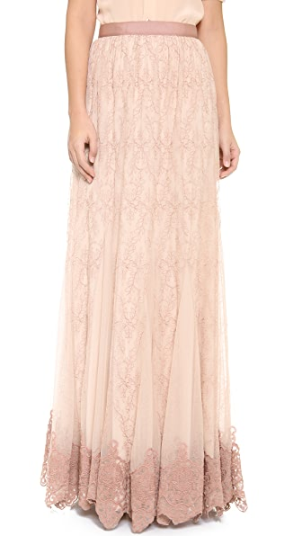 alice + olivia Louie Embroidered Maxi Skirt