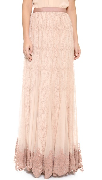 Alice + Olivia Louie Embroidered Maxi Skirt - Nude/Dusty Pink at Shopbop / East Dane