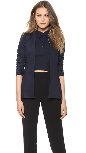 Alice + Olivia Long Open Front Collarless Blazer - Navy at Shopbop / East Dane
