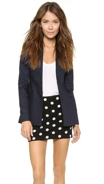 alice   olivia long open front collarless blazer
