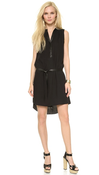 alice + olivia Berk Leather Combo Shirtdress
