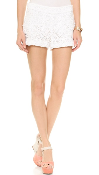 Alice + Olivia Crochet Lace Back Zip Shorts - White at Shopbop / East Dane