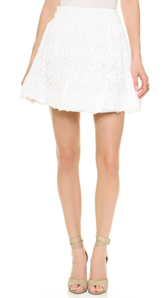 Alice + Olivia Gilberto Lace Box Pleat Skirt - White at Shopbop / East Dane