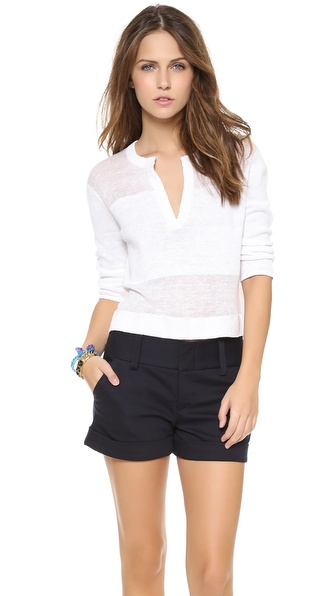 Alice + Olivia Shena Sheer Crop Sweater - White at Shopbop / East Dane