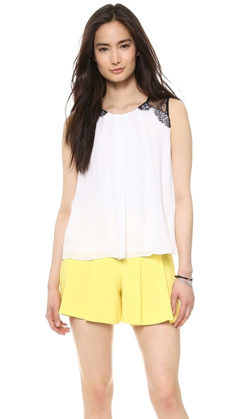 Alice + Olivia Loretta Lace Combo Top - White at Shopbop / East Dane