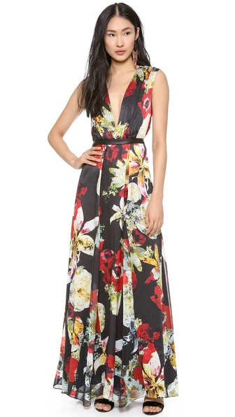alice + olivia Triss Leather Trim Maxi Dress
