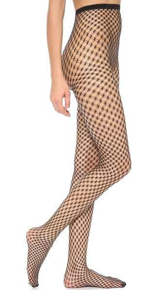 Alice + Olivia Super Lovely Double Fishnet Tights - Black at Shopbop / East Dane