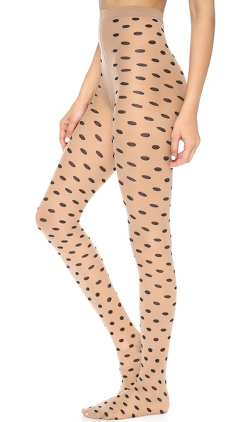 Alice + Olivia Semi Sheer Polka Dot Tights - Nude/Black at Shopbop / East Dane