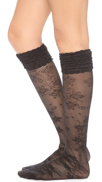 Alice + Olivia Lace Ruffle Top Knee High Socks - Black at Shopbop / East Dane