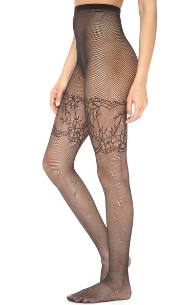Alice + Olivia Show Stopper Lace Fishnet Tights - Black at Shopbop / East Dane