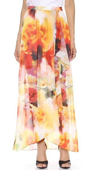 alice + olivia Leah Wrap Slit Maxi Skirt