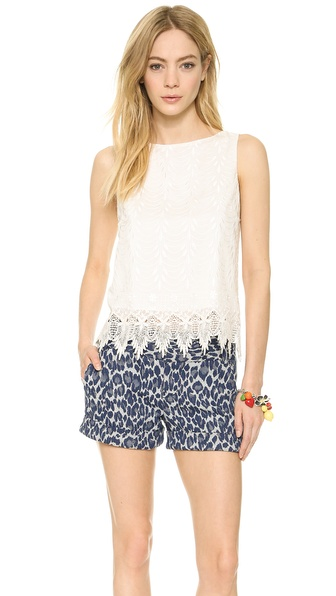 alice + olivia Anya Embroidered Tank Top