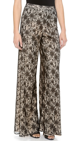 Alice + Olivia Lace Wide Leg Pants - Black/Nude at Shopbop / East Dane
