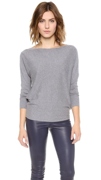 Alice + Olivia Cash Air Boatneck Sweater - Grey Melange at Shopbop / East Dane