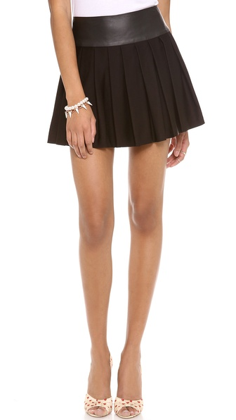 alice + olivia Box Pleat Skirt with Leather Waist