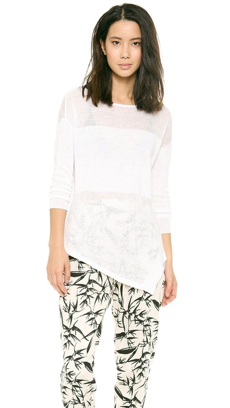 Alice + Olivia Catherine Sheer Combo Sweater - White at Shopbop / East Dane