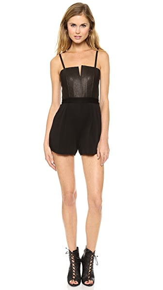 alice + olivia Orin Pleated Bustier Romper