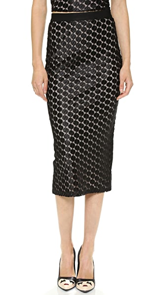 alice + olivia Brandi Sheer Pencil Skirt