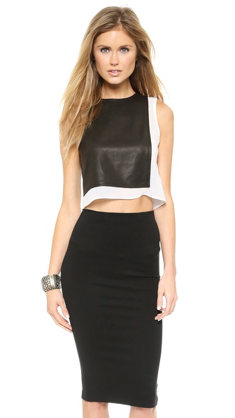 alice + olivia Lest Leather Combo Crop Top