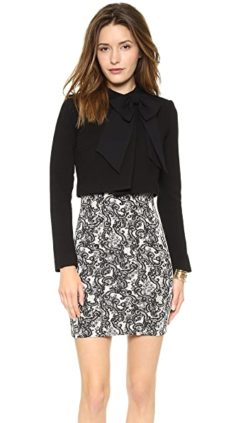 alice + olivia Bow Neck Crop Jacket