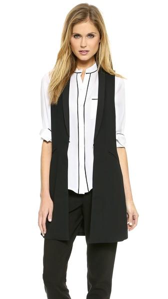 alice + olivia Long Shawl Collar Vest