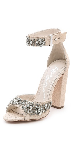 Kupi alice + olivia cipele online i raspordaja za kupiti Clustered crystals add vintage elegance to snake-embossed alice + olivia sandals. Buckle ankle strap. Chunky, covered heel and leather sole.  Leather: Cowhide. Imported, China. This item cannot be gift-boxed.  MEASUREMENTS Heel: 4in / 100mm - Bone