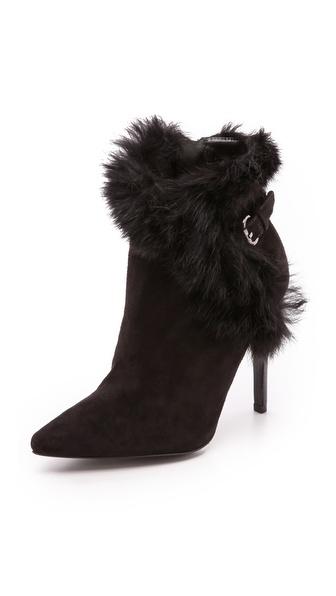 Alice + Olivia Denyson Fur Booties - Black