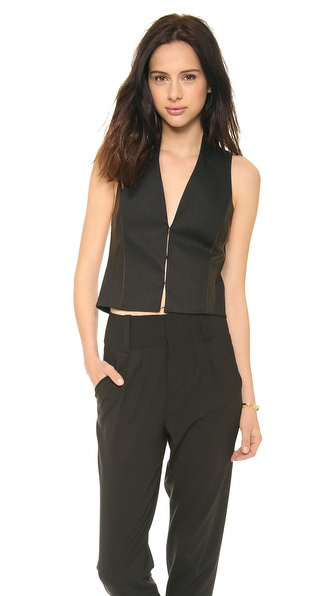 Alice + Olivia Jacqui Leather Combo Vest - Black at Shopbop / East Dane