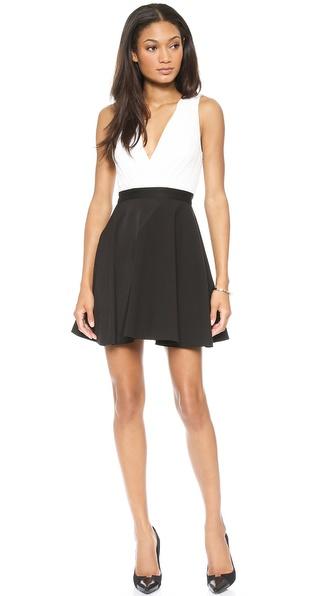 alice + olivia Tobin Low Cut Combo Flare Dress