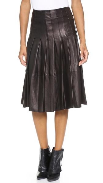 Alice + Olivia Tatum Leather Pleat Skirt - Black