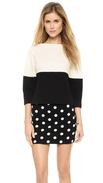 alice + olivia Dory Two Tone Boxy Sweater