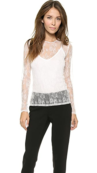 alice + olivia Slim Lace Top