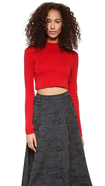 alice + olivia Slim Mock Neck Crop Top