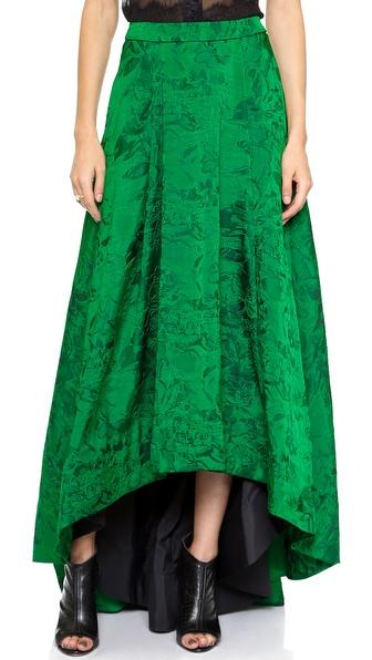 Alice + Olivia Cohe Asymmetical Center Pleat Skirt - Emerald