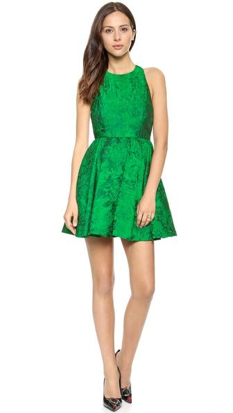 Alice + Olivia Tevin Racer Back Party Dress - Emerald