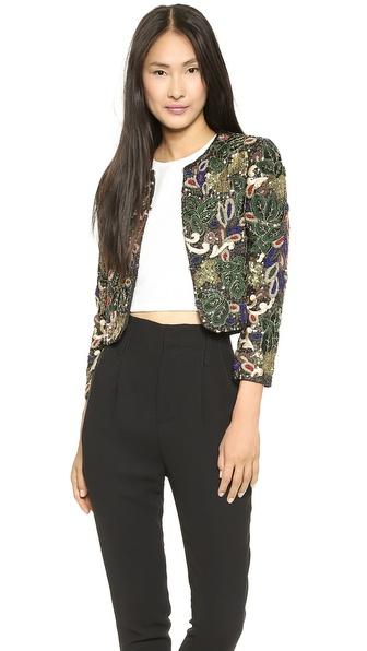 Alice + Olivia Kidman Embellished Box Jacket - Black Multi