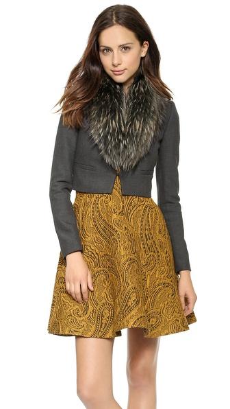 Alice + Olivia Ridley Fur Collar Crop Jacket - Dark Charcoal