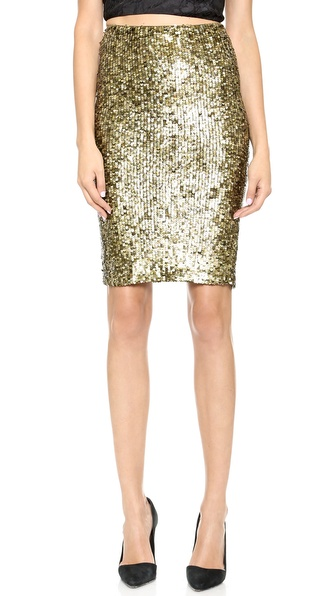 Alice + Olivia Bryce Sequin Pencil Skirt - Bronze