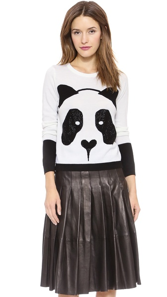 Alice + Olivia Rhinestone Panda Sweater - Black/White