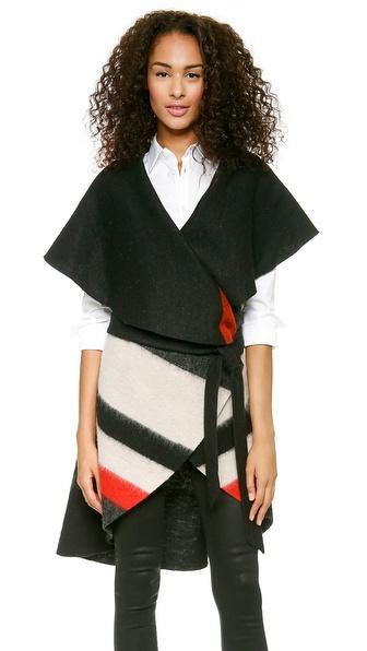 Alice + Olivia Keira Striped Vest - Black Multi Stripe