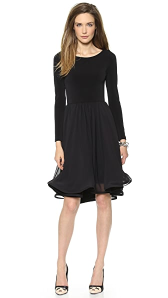 alice + olivia Jaye Long Sleeve Full Skirt Dress