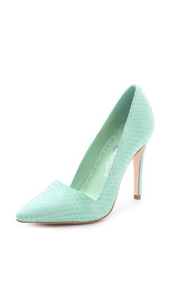 Alice + Olivia Dina Suede Pumps - Aqua at Shopbop / East Dane